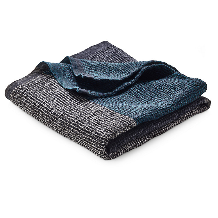Face Towel with Block Stripes Anthracite-Teal