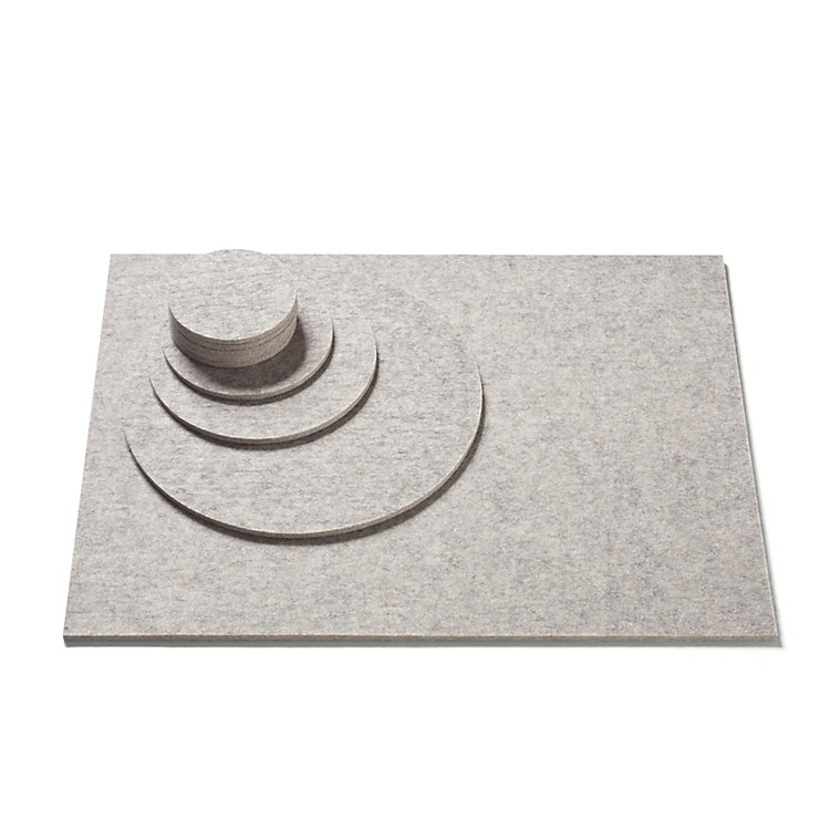 Felt Mat Ø 12 cm Light Grey Mottled