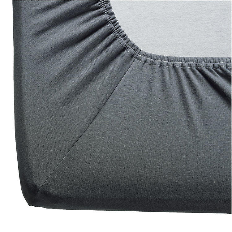 Fitted Sheets Made of Double Jersey Anthracite 180-200 x 200 cm - Anthracite