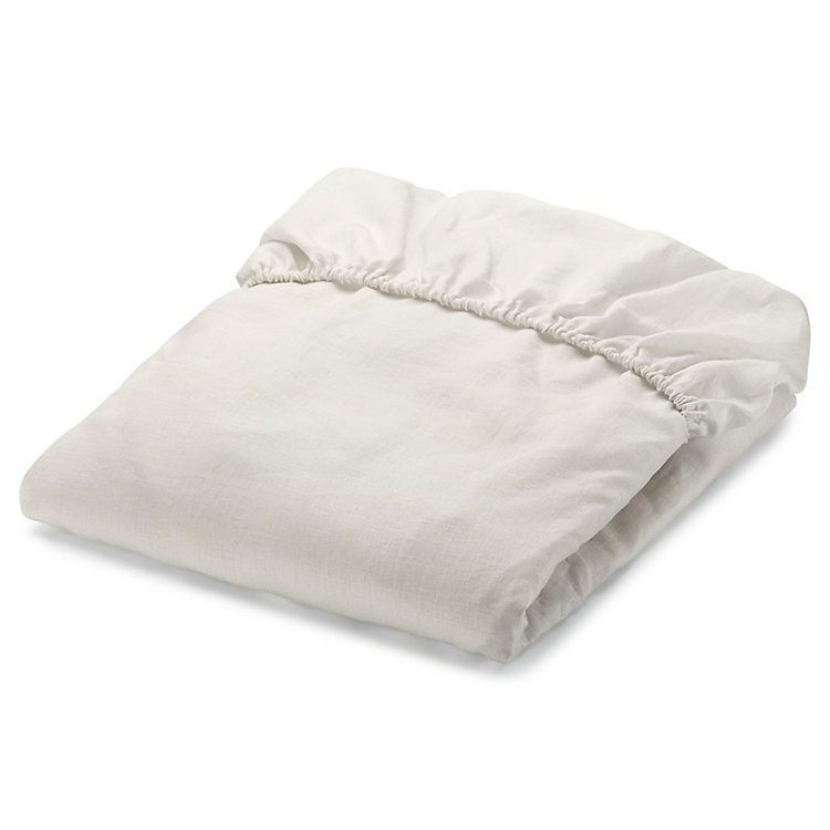 Fitted Sheets Made of Linen Ecru 90 × 200 cm