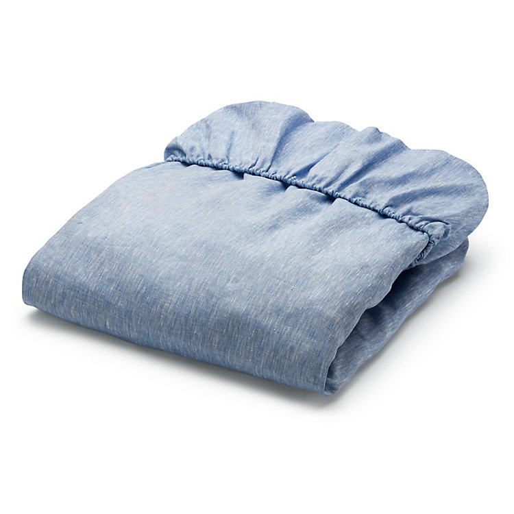 Fitted Sheets Made of Linen 90 x 200 Blue