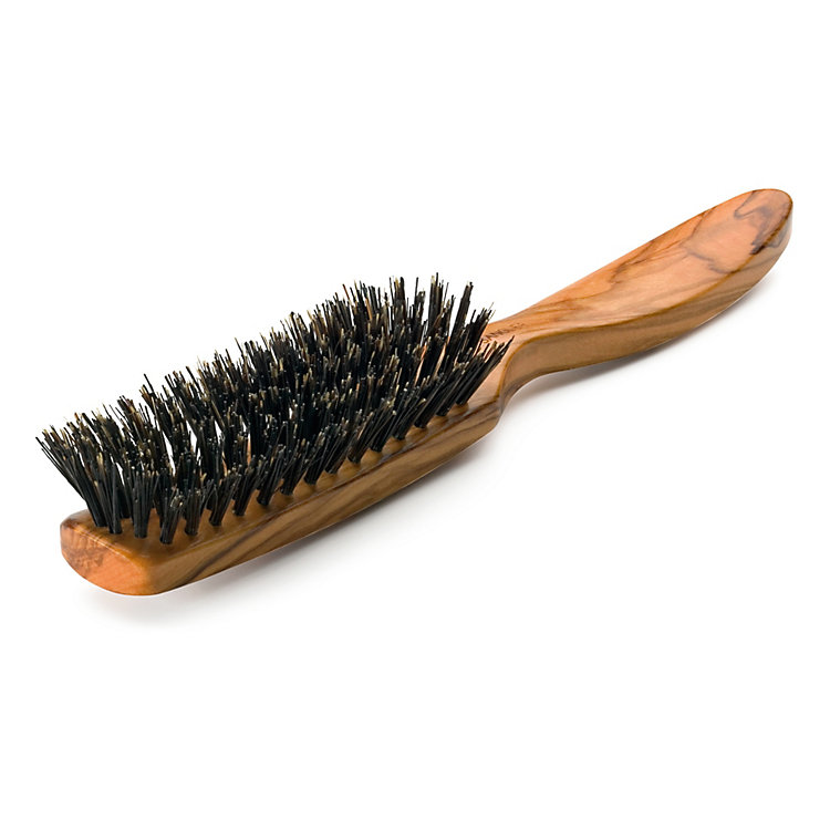 Flat Wild Pigs' Bristle Olive Wood Hair Brush