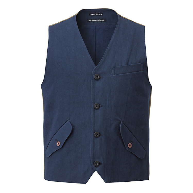 Frank Leder Men's Vest Dark blue-khaki