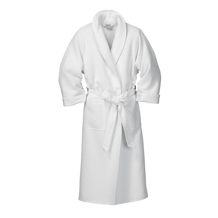 Gentlemen's Honeycomb Piqué and Terry Dressing-gown, White