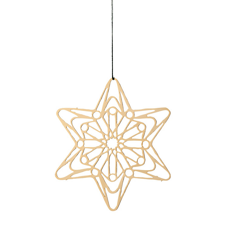 Gold-Plated Brass Pendant Filigree Star Motif, Ø 7 cm