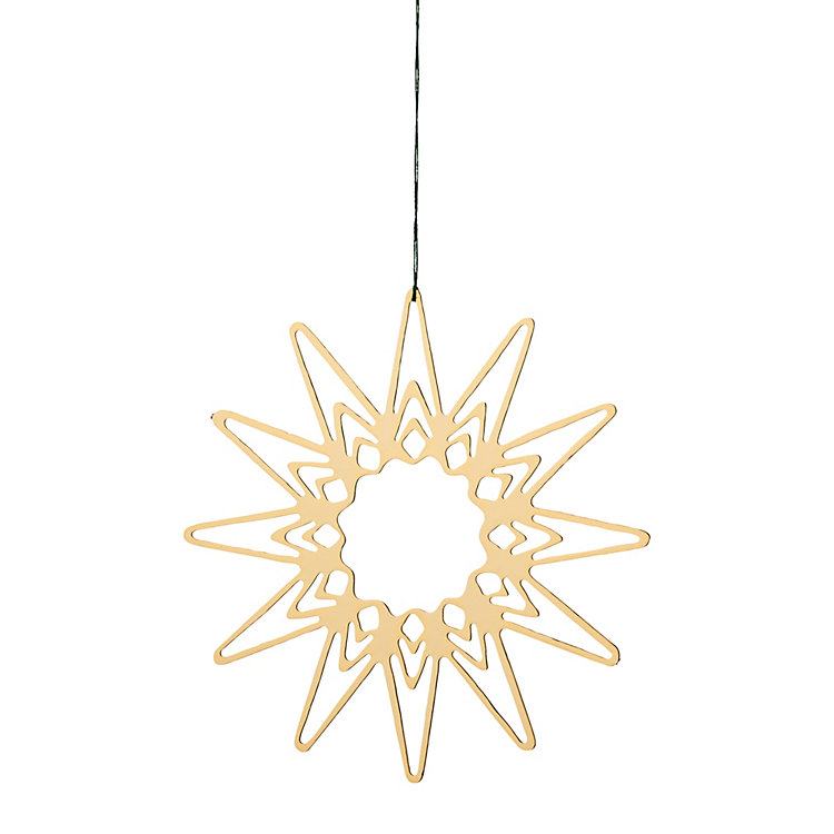 Gold-Plated Brass Pendant Filigree Star Motif, Ø 6.5 cm