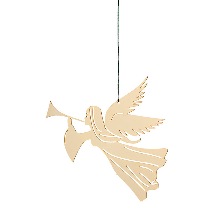 Gold-Plated Brass Pendant Trumpeting Angel