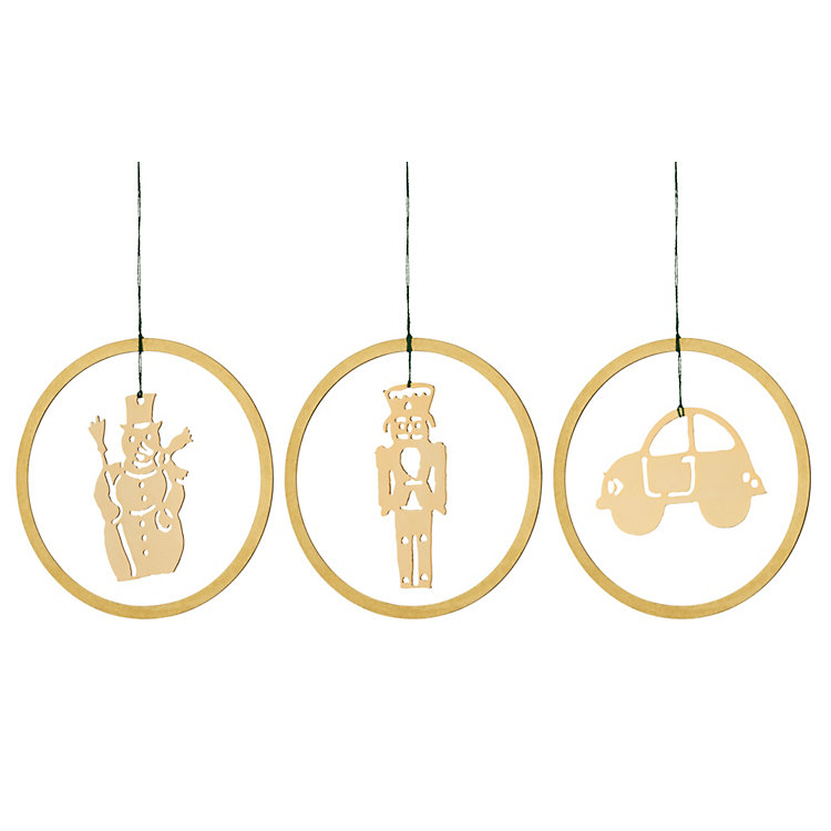 Gold-Plated Brass Pendant, 3 motifs in a set: snowman, automobile, nutcracker