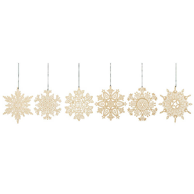 Gold-Plated Brass Pendant, Snow flakes