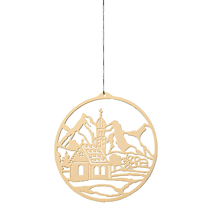 Gold-Plated Brass Pendant Winter Landscape