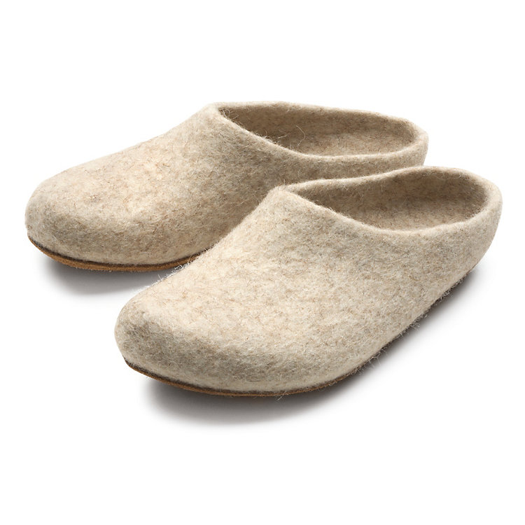 Gottstein Felt Slippers Made from Coburg Fox Sheep Wool, Beige