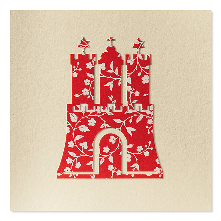 Greeting Card with Paper Cutting Hamburg Coat of Arms