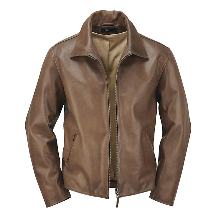 Hack Men's Cow's Leather Jacket Medium brown