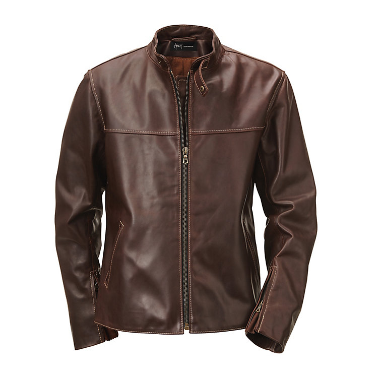 Hack Pull-Up Leather Jacket with Stand-Up Collar Dark brown