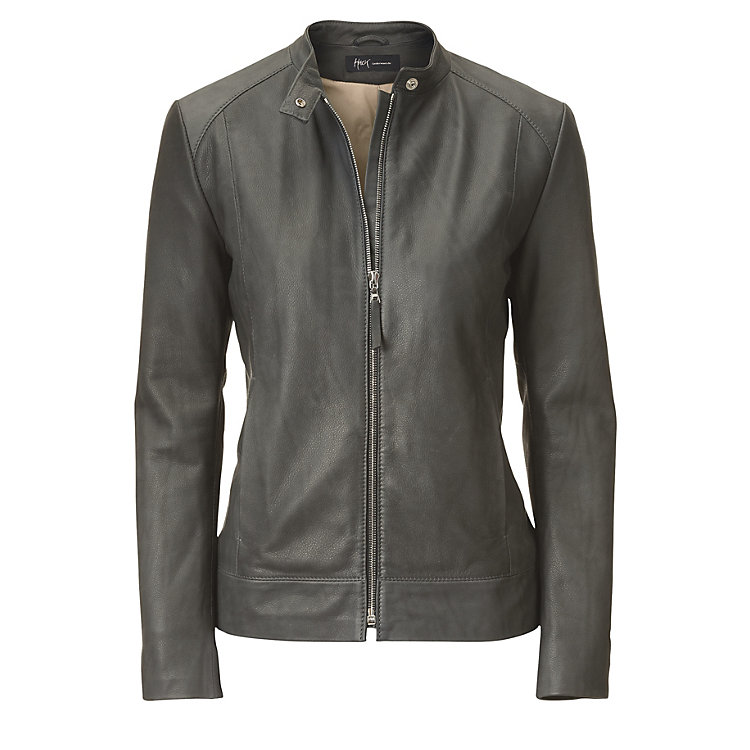 Hack Women's Grey Cattle Leather Jacket Grey