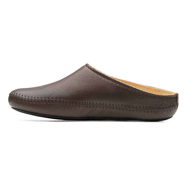 Haflinger Elk Leather Slipper, Dark brown
