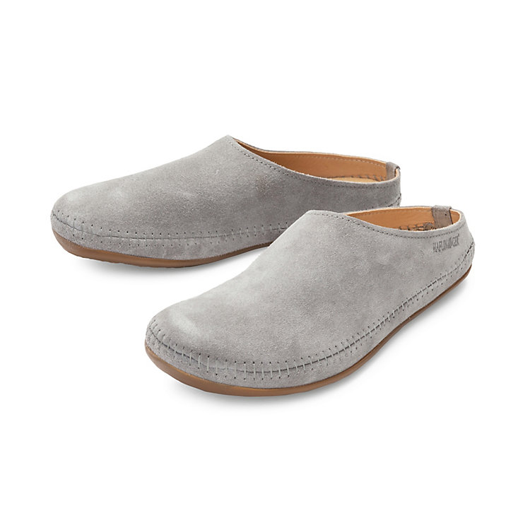 Haflinger Leather Suede Slippers Graphite