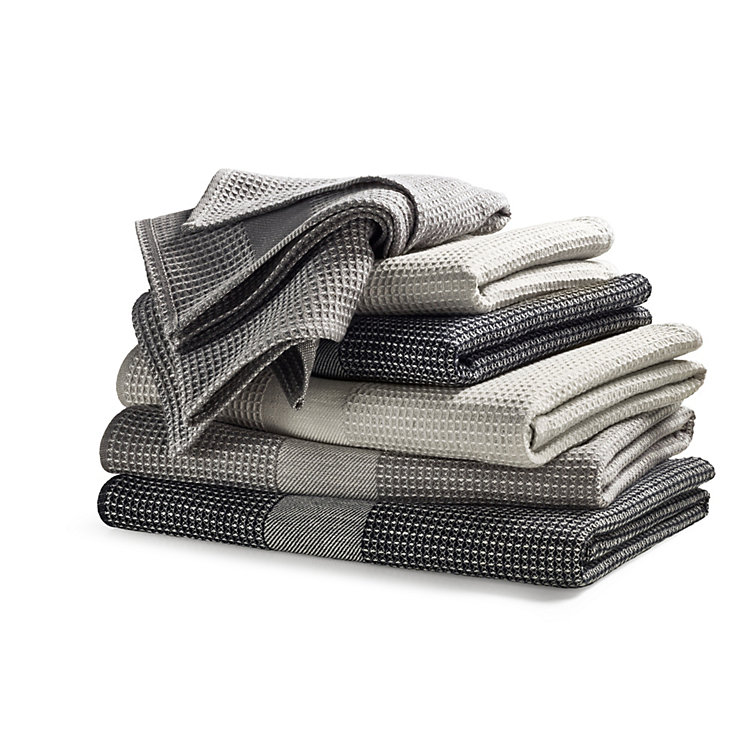 Half Linen Piqué Weave Guest Towel Light grey