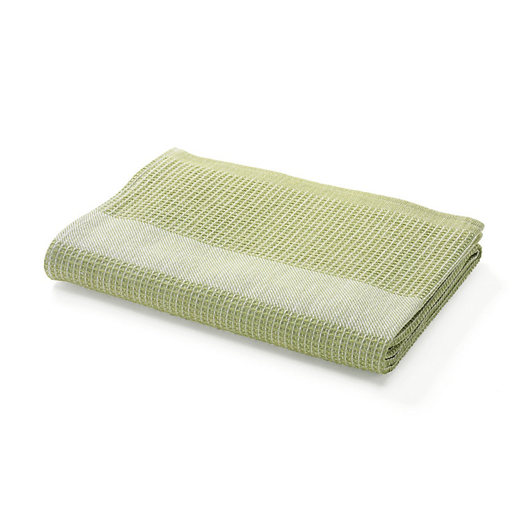 Half Linen Piqué Weave Shower Towels Green