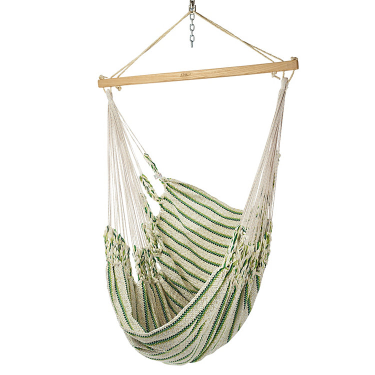 Hammock Chair in Cotton, Beige/Green