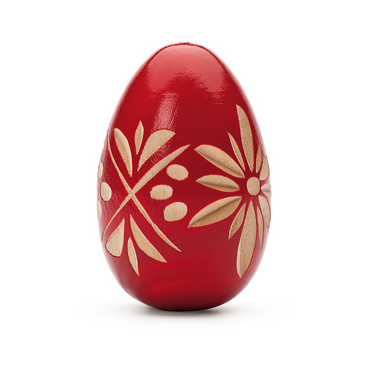 Hand-Carved Easter Egg Made of Pinewood Red