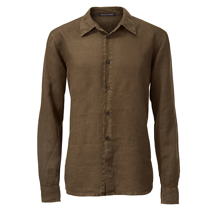 Hannes Roether Men's Linen Shirt Olive