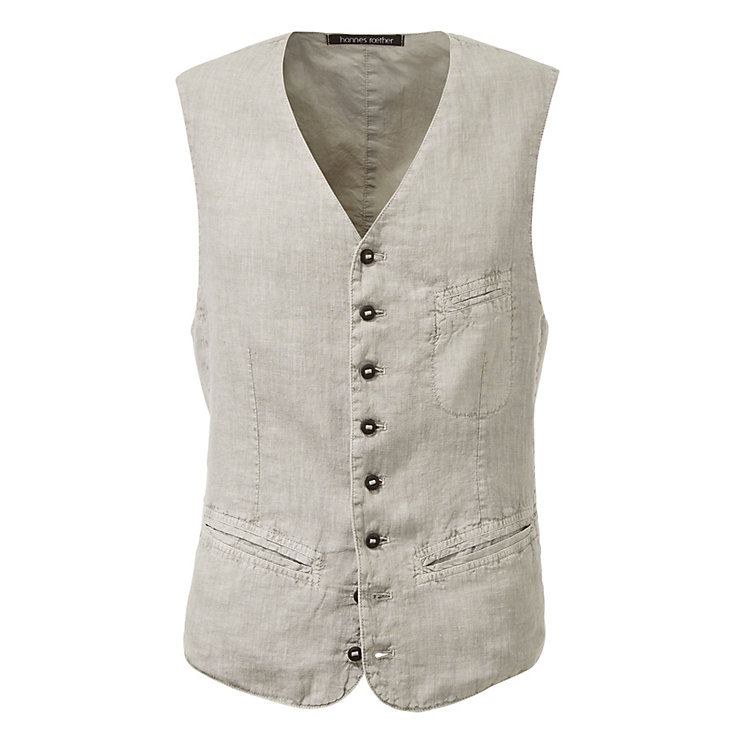 Hannes Roether Men's Vest Linen, Grey