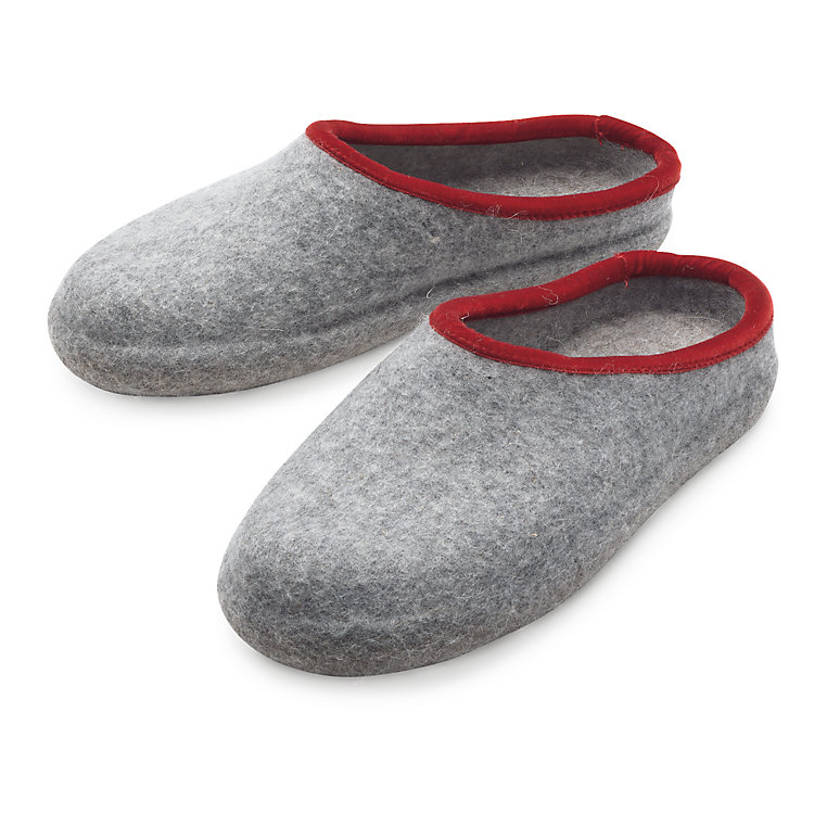 Haunold Ladies' Felt Slippers Light gray