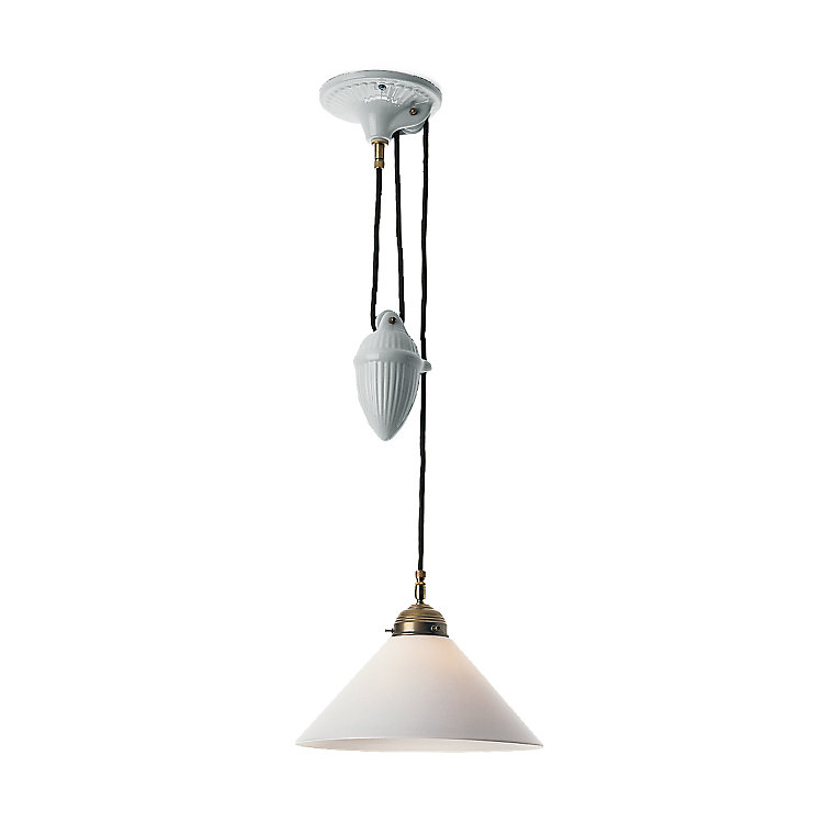 Height-Adjustable Pendant Made of Ceramics and Brass