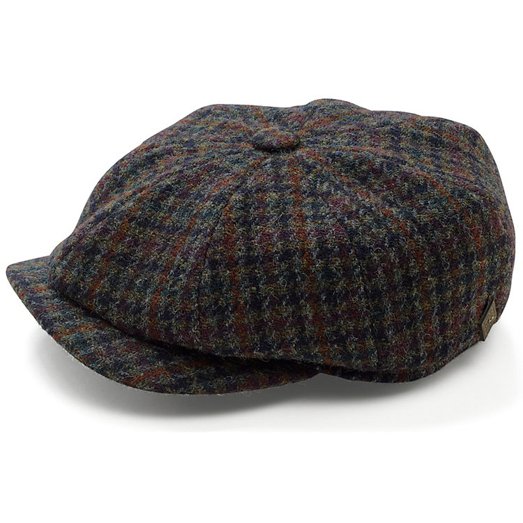 Herrenkappe Harris-Tweed, Blau-Braun