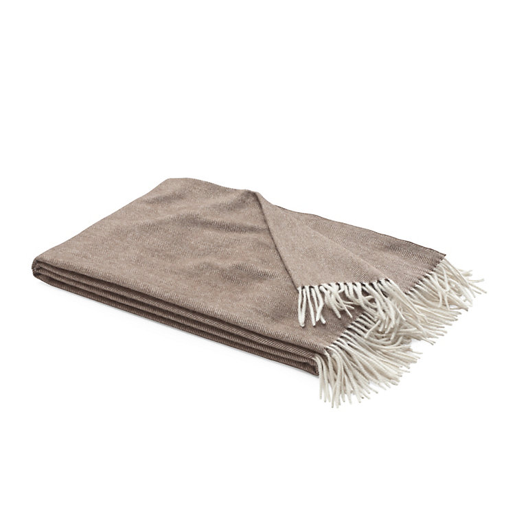 Herringbone Cashmere Blanket Brown