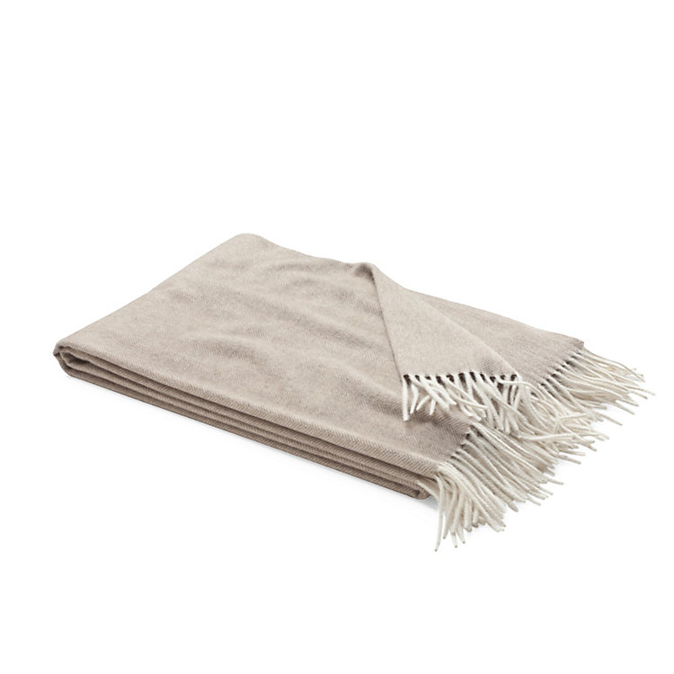 Herringbone Cashmere Blanket, Grey-brown