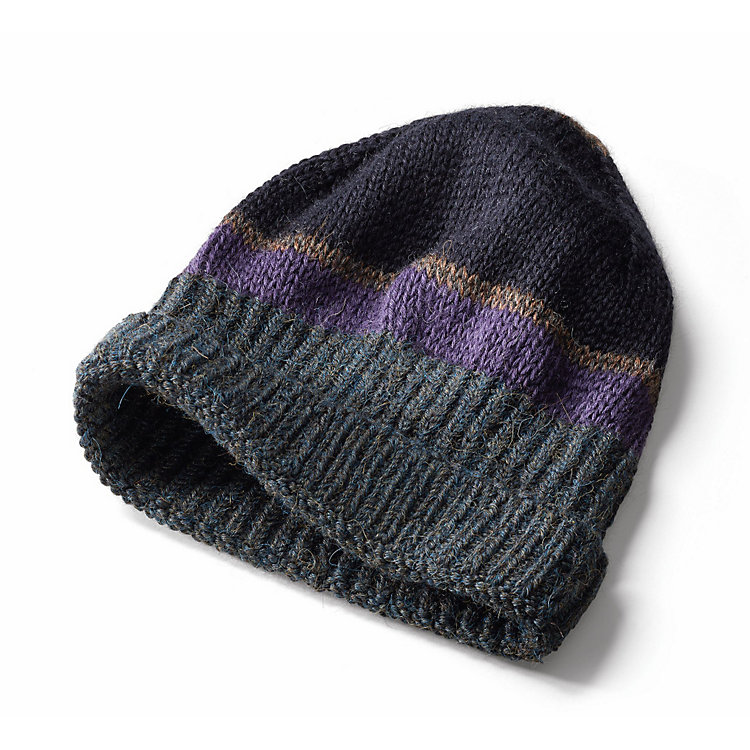 Inis Meáin Knitted Cap Made of Alpaca with Stripes