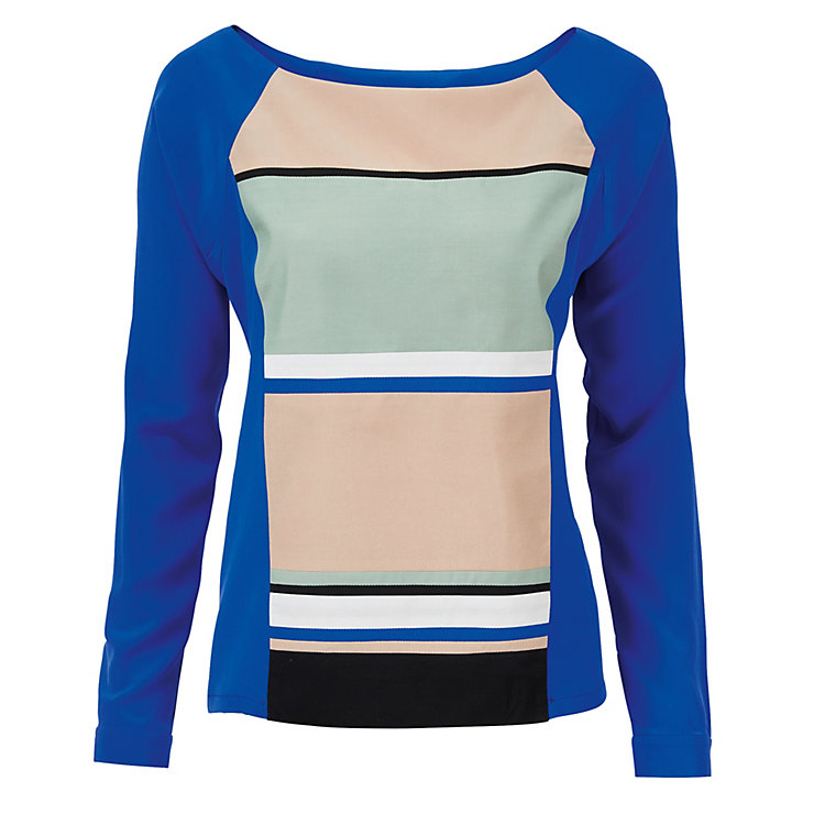 Isabell de Hillerin Silk Blouse with Raglan Sleeve Blue