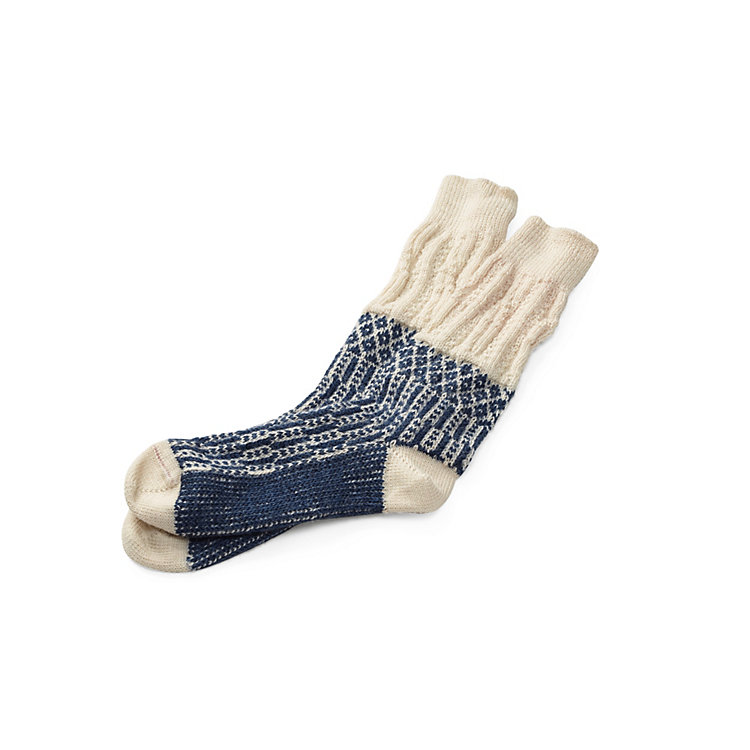 Jacquard Long Socks Ecru/Blue