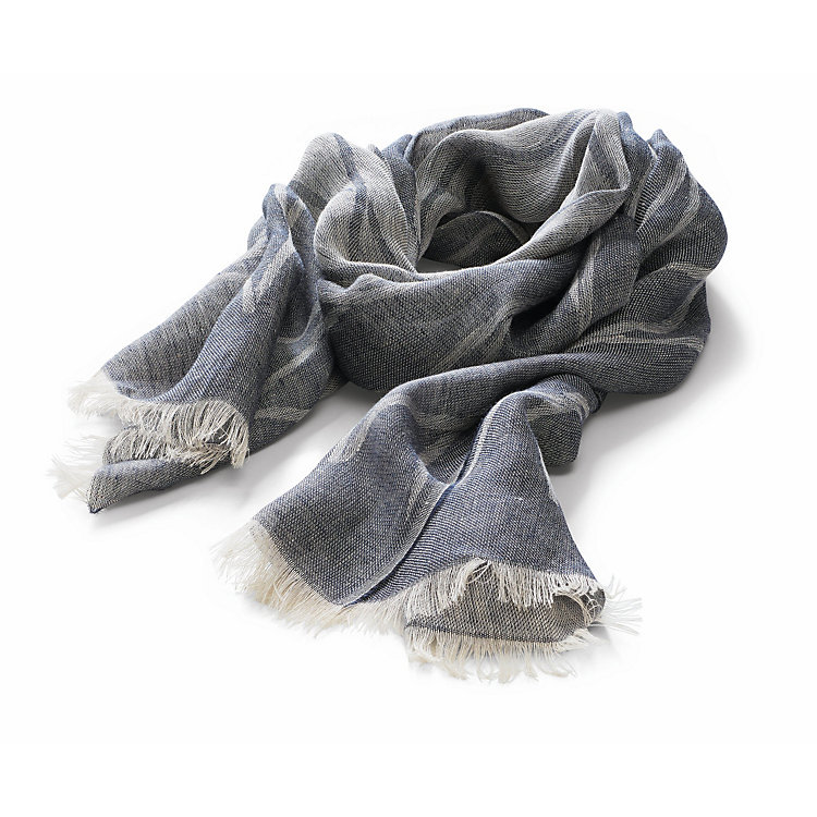 Jurate Linen Scarf with a Pattern Graphite-Light Blue