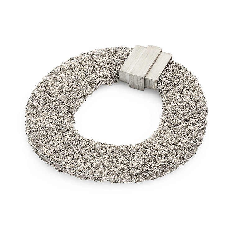Knitted Silver Bracelet Silver