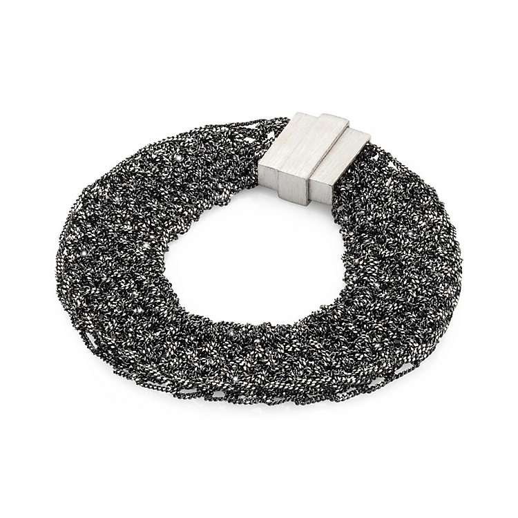 Knitted Silver Bracelet Anthracite