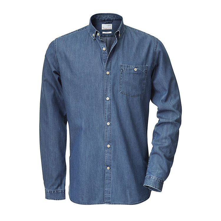 Knowledge Cotton Apparel Cotton Shirt, Denim