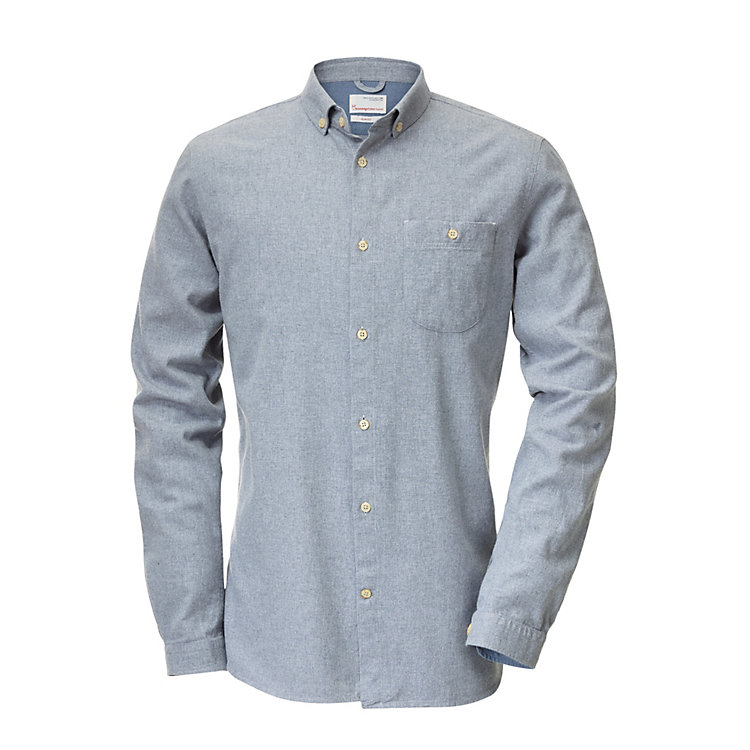 Knowledge Cotton Apparel Flannel Shirt Grey Melange