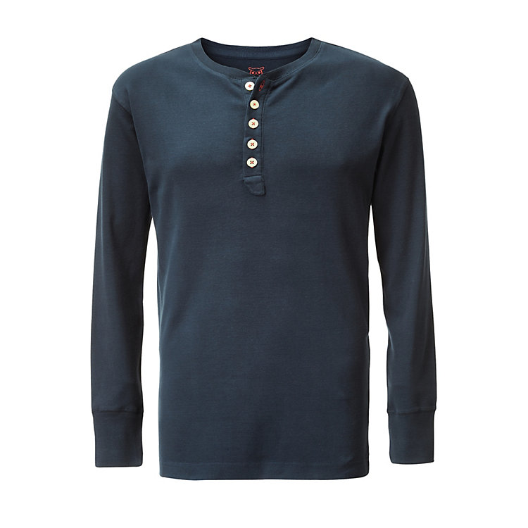 Knowledge Cotton Apparel Henley-Shirt Dunkelblau
