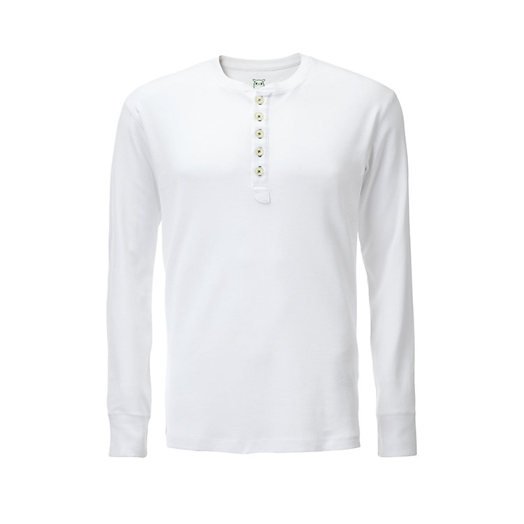 Knowledge Cotton Apparel Henley Shirt White