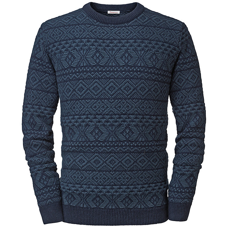 Knowledge Cotton Apparel Herren-Jacquardpullover Blau
