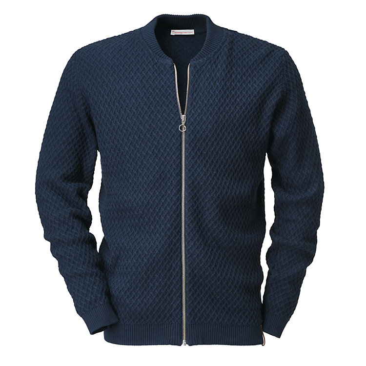 Knowledge Cotton Apparel Herren-Strickjacke Rautenmuster Blau