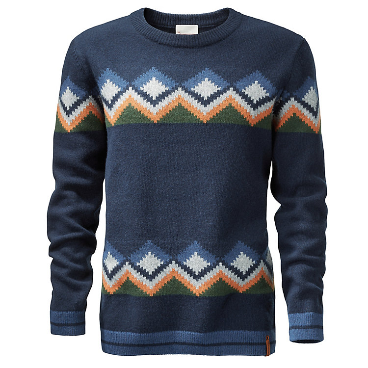 Knowledge Cotton Apparel Herrenpullover Jacquard Marine-Bunt