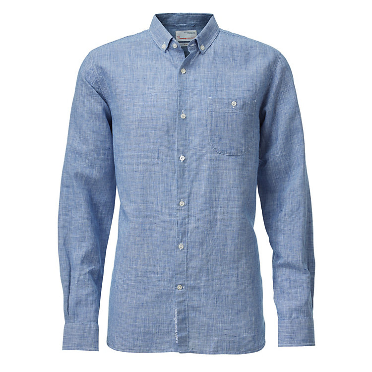 Knowledge Cotton Apparel Houndstooth Men's Shirt Blue-White