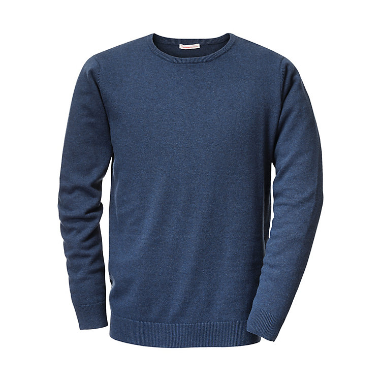 Knowledge Cotton Apparel Knitted Sweater Round Neck Blue