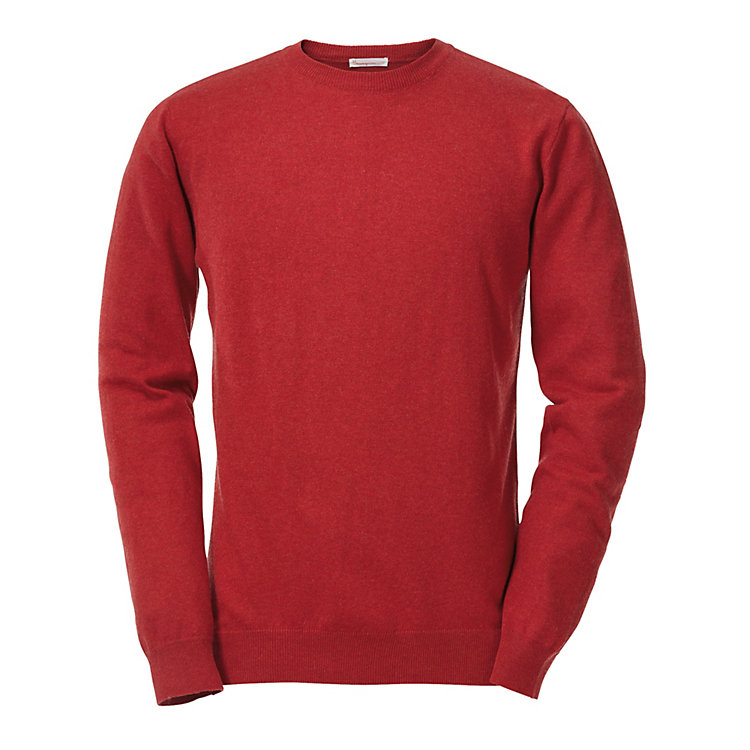 Knowledge Cotton Apparel Knitted Sweater Round Neck Red