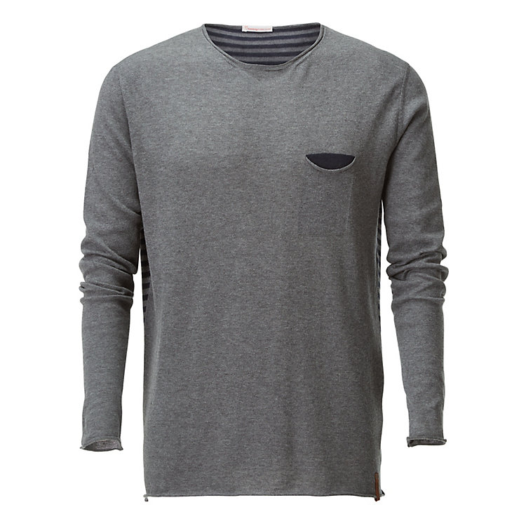 Knowledge Cotton Apparel Men's Knit Shirt with Breast Pocket Grey