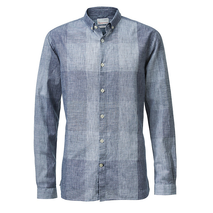Knowledge Cotton Apparel Men's Shirt with Check Pattern Blue